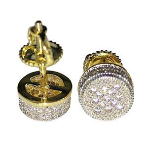 Gold 2-Tone Round CZ Earrings 8MM