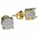 Gold 2-Tone Round CZ Prong Earrings