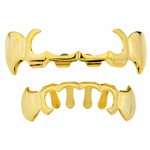 Gold Vampire Fangs 4-Open Curved Set