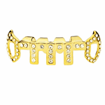 Gold Vertical Bars Iced-Out Low Fangs