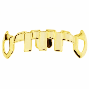 Gold Vertical Bars Bottom Fang Grillz