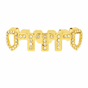 Gold Vertical Bars Iced-Out Low Grillz