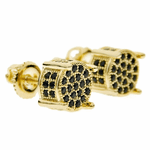 Gold with Black CZ Round Earrings