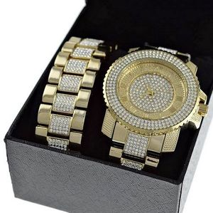 Roman Numerals Gold Watch Set