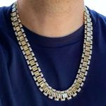 Gold Watch Link Baguettes Chain 24""