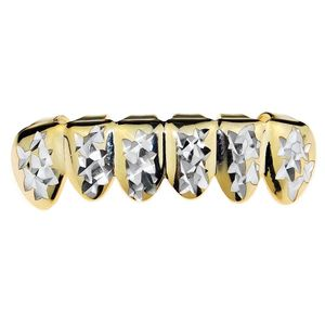 Gold Diamond-Cut w/Silver Low Grillz