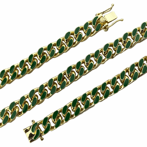 "14K Gold Plated 22"" Green Cuban Chain"