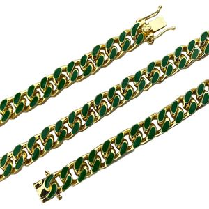 "14K Gold Plated 18"" Green Cuban Chain"