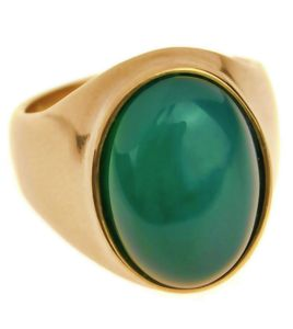 Green Stone Stainless Steel Ring