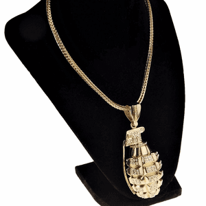 "Gold Grenade 36"" Franco Chain"