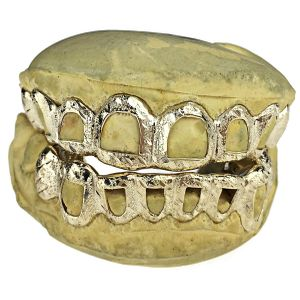 Gold Plated Diamond Cut/Dust Open Custom Grillz