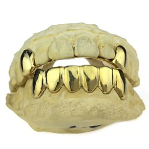 Real 10K Gold 2 Top Caps 6 Bottom Custom Grillz