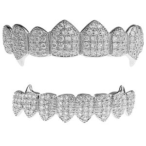 Silver CZ 8/8 Teeth Fangs Grillz Set
