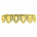 Gold CZ 6 Open Bottom Teeth Grillz