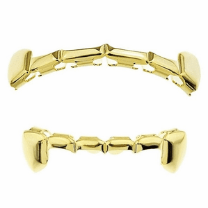 14k Gold Plated Slim Bar Grillz Set