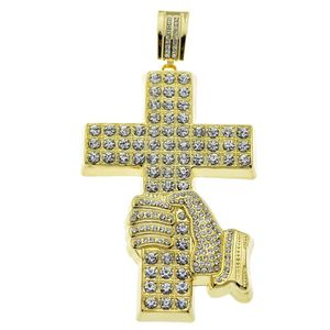 Huge Hand Cross Bling Pendant