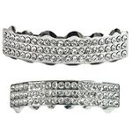 Silver Three Row Bling Grillz Set