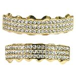 Gold Three Row Bling Grillz Set
