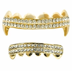 Gold Fangs 2-Row Bling Grillz Set