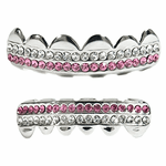 Silver 2-Row Pink Bling Grillz Set