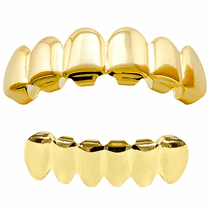 14k Gold Plated Teeth Grillz Set