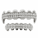 Silver Fangs 2-Row Bling Grillz Set