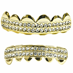 Gold 2-Row Bling Teeth Grillz Set