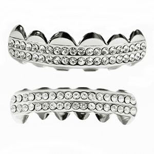 Grillz Two Row Silver Tone Set
