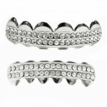Silver 2-Row Bling Teeth Grillz Set