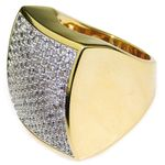 Huge Square 2-Tone CZ Ring 24x24MM