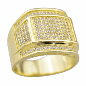 Gold Rectangle CZ Ring 16x11MM
