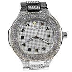Mens Classy Silver Bling Watch