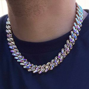 Gold Iridescent Baguette Chain 20""
