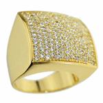 Gold Square CZ Ring 24x24MM