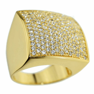 Huge Square Gold CZ Ring 24x24MM