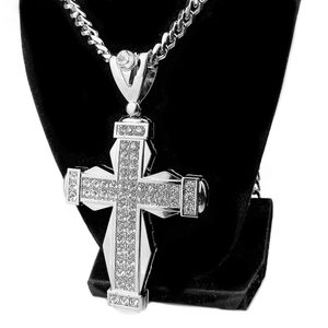 Huge Fully Iced Cross Silver Chain