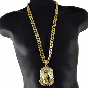 "Gold Big Jesus Head 33"" Cuban Chain"