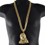 "Gold Big Jesus Bust 33"" Cuban Chain"