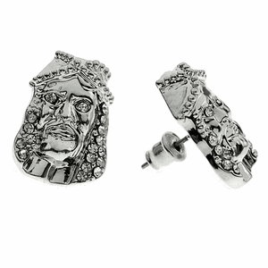 Huge Jesus Silver Finish Earrings