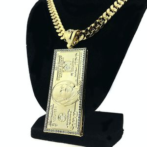Gold $100 Dollar Bill Curb Chain 24""