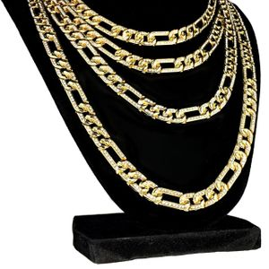 """Gold Plated Iced Figaro Chain 16""""-24"""""""