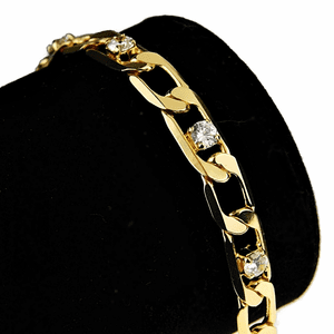 "Gold Figaro Bling Bracelet 8""x 7MM"