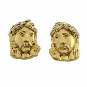 Iced-Out Gold Tone Jesus Earrings