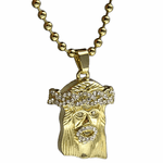 Iced-Out Micro Jesus Ball Chain 30""