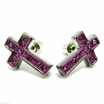 Iced-Out Pink Crosses Earrings