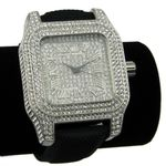 Silver Iced-Out Square Watch