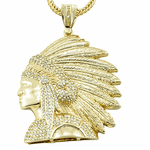 """Gold Indian Chief Head 36"""" Chain"""