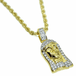 Jesus Bling Gold Rope Chain 24""