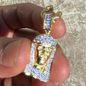 """Jesus Micro Pave Gold Rope Chain 24"""""""