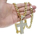 "Micropave Cross 30"" Cuban Chain"